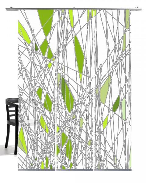 Labyrinth grün Schiebevorhang 3-teiliges Set