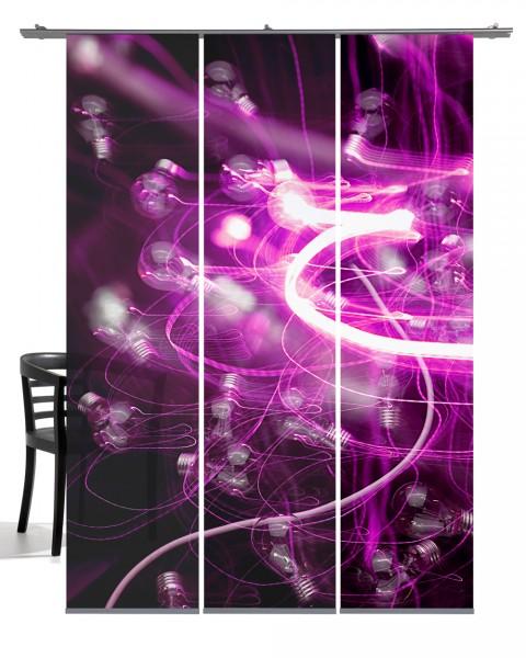 Glühwürmchen pink Schiebevorhang 3-teiliges Set
