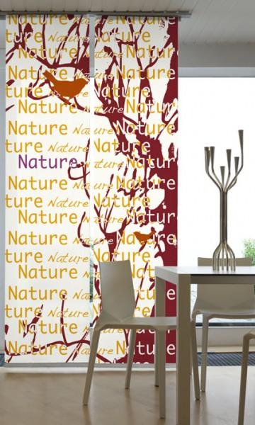 Nature Weinrot Flächenvorhänge 2-teiliges Set
