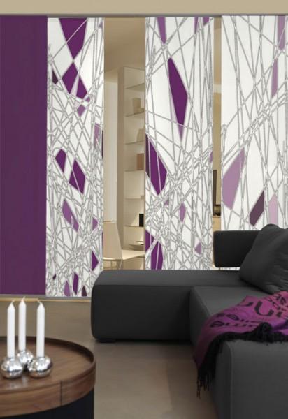 Labyrinth Violett Flächenvorhänge 3-teiliges Set