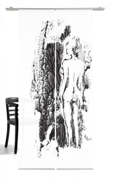 Venus Nature anthrazit Schiebegardine 2-teiliges Set