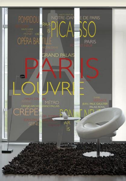 La Tor Eiffel Rot-Gelb Flächenvorhänge 3-teiliges Set