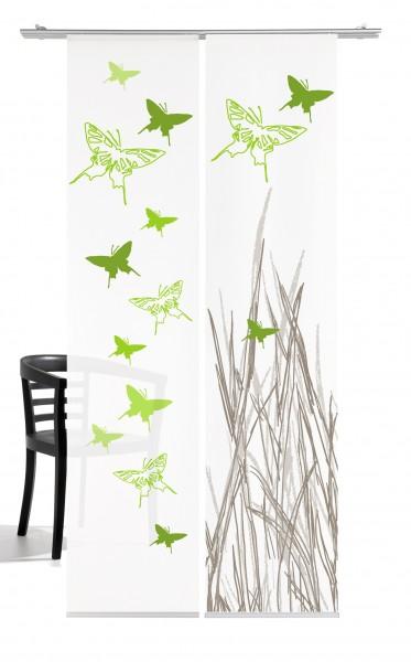 Schmetterling grün Schiebevorhang 2-teiliges Set