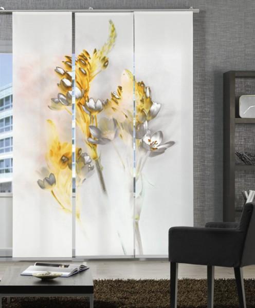 Floralzauber Gelb Schiebegardinen 3-teiliges Set