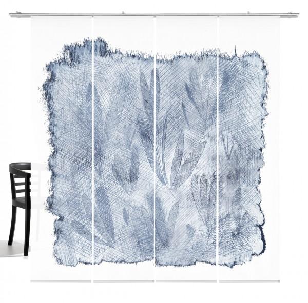 Sgraffito taubenblau Schiebevorhang 4-teiliges Set