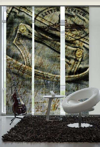 Jeans Sepia Flächenvorhänge 3-teiliges Set