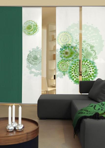 Batikblume Flaschengrün Schiebegardinen 3-teiliges Set