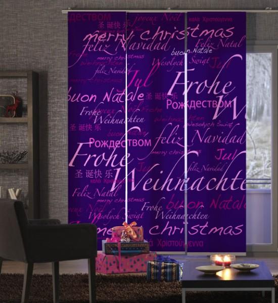 Weihnachten World Xmas Lila-Pink Flächenvorhang 3-teilig