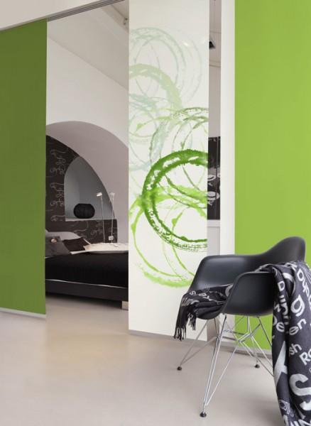 Aquarellkreise Grün Schiebevorhang 1-teilig
