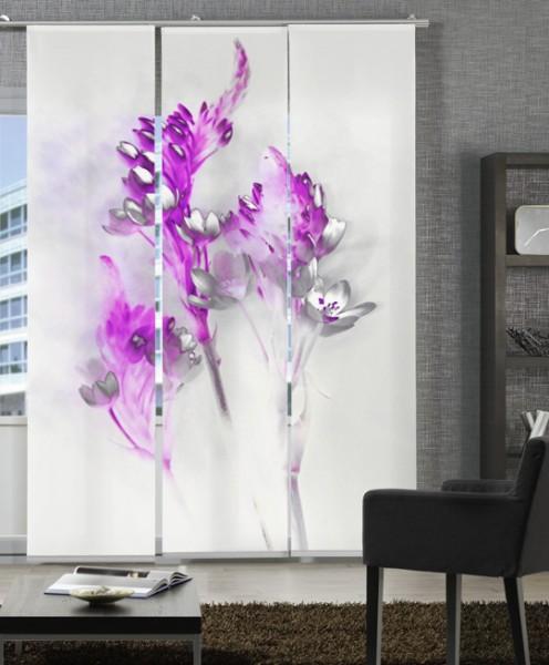 Floralzauber Magenta Schiebegardinen 3-teiliges Set