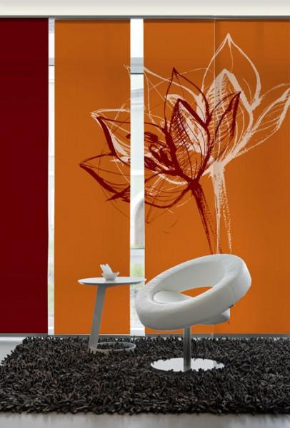 Blütenkopf Orangerot Schiebegardinen 3-teiliges Set