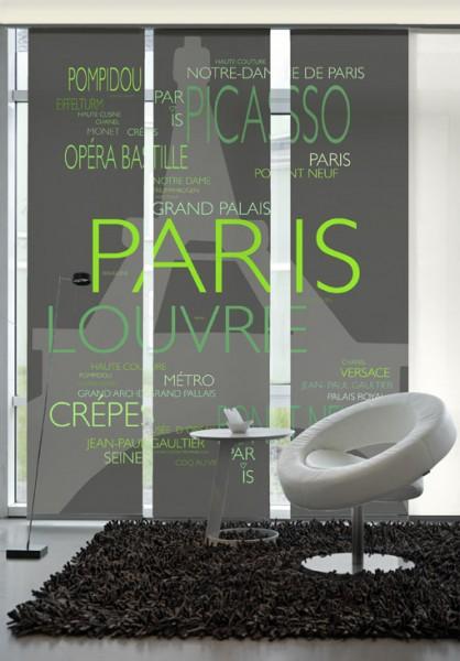 La Tour Eiffel Grün Flächenvorhänge 3-teiliges Set