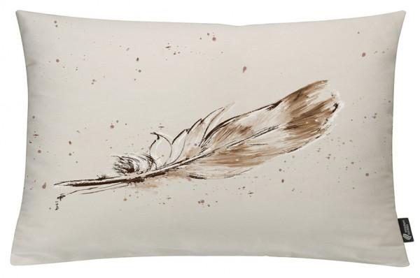 Temperafeder Sepia - Kissenhülle 60 x 40 cm