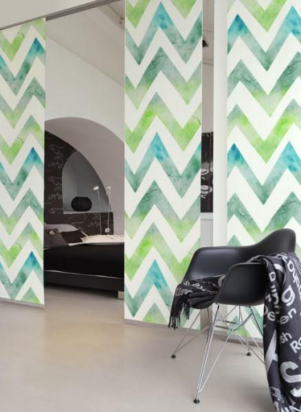 Zigzag Batik Tütkis Schiebegardinen 3-teiliges Set
