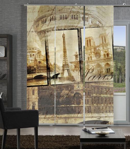 Alt Paris Sepia Flächenvorhänge 3-teiliges Set