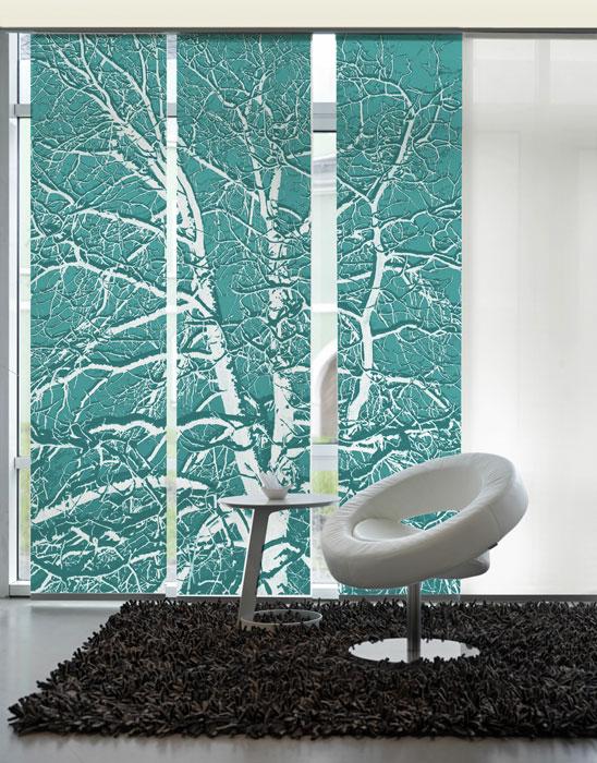 birke t rkis schiebegardinen 3 teiliges set grafics. Black Bedroom Furniture Sets. Home Design Ideas