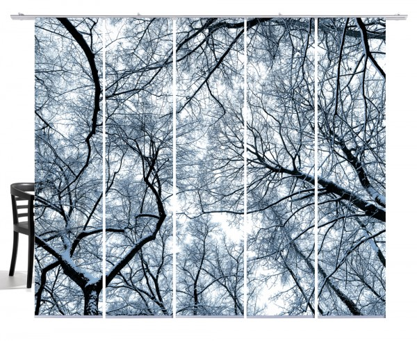 Wood taubenblau Flächenvorhang 5-teiliges Set