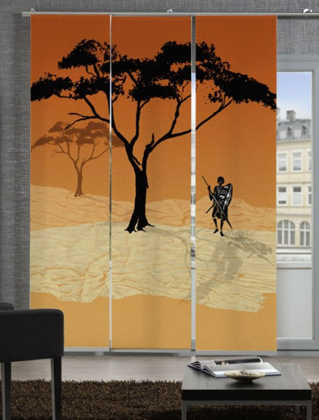 Afrika Massai Rot Schiebegardinen 3-teiliges Set