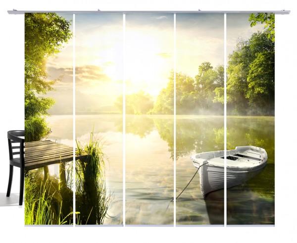 Fernwehkollektion See mit Boot grün gelb Flächengardine 5-teiliges Set