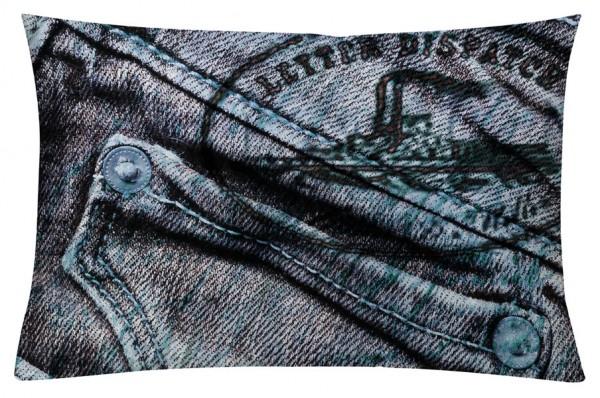Jeans Blau - Kissenhülle 60 x 40 cm