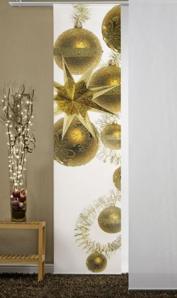 Weihnachtskugeln Gold Flächenvorhang 1-teilig