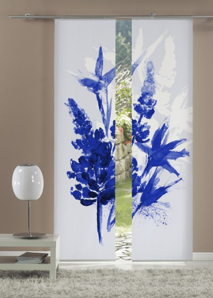 Lupinenaquarell Royalblau Flächenvorhänge 2-teiliges Set