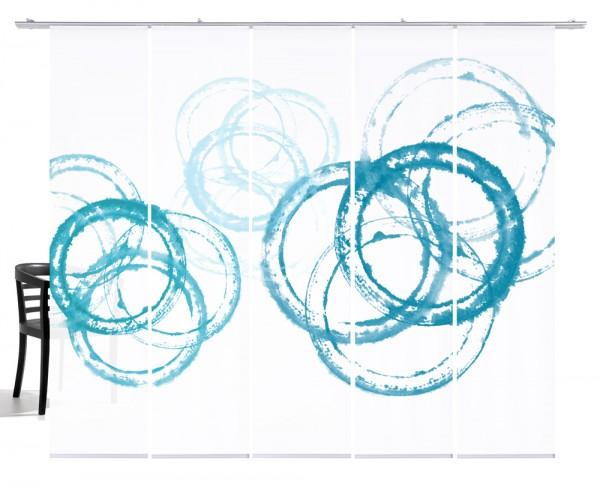 Aquarellkreise türkis Flächenvorhang 5 teiliges Set