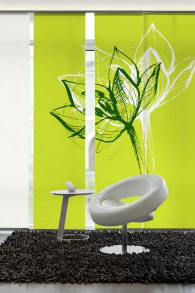 Blütenkopf Grün Schiebegardinen 3-teiliges Set