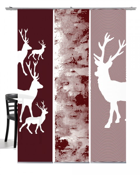 Weihnacht Hirsch weinrot Flächenvorhang 3-teiliges Set
