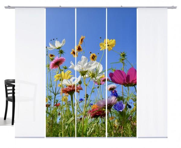 Fernwehkollektion Blumenwiese bunt Schiebevorhang 5-teiliges Set 3x Motiv und 2xWeiß
