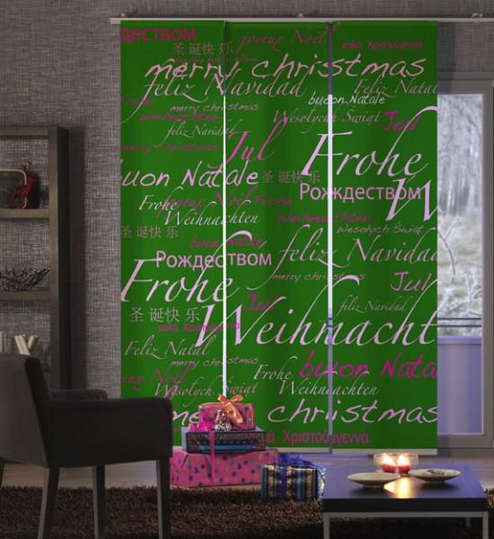Weihnachten World Xmas Grün-Pink Flächenvorhang 3-teilig