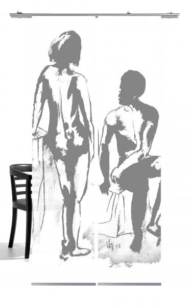 Mann und Frau Akt grau Schiebevorhang 2-teiliges Set