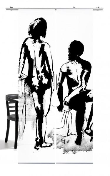 Mann und Frau Akt black Flächengardine 2-teiliges Set