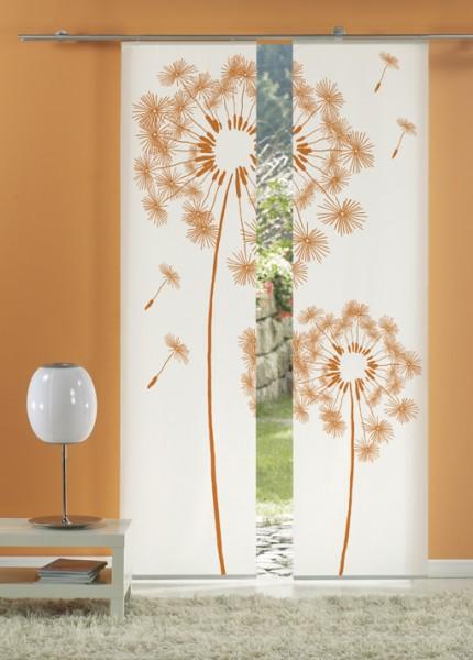Löwenzahn Orange Flächenvorhänge 2-teiliges Set