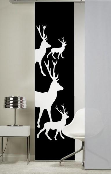 Weihnacht Hirsch (kl. Hirsche) anthrazit Flächenvorhang 1-teilig