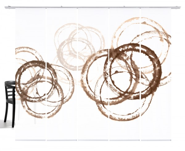 Aquarellkreise sepia braun Flächengardine 5teiliges Set