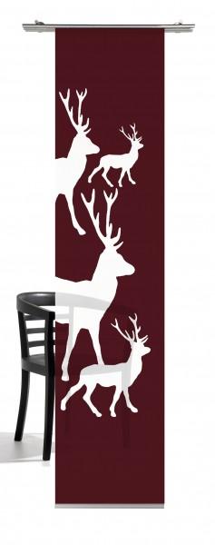 Weihnachten Hirsch (kl. Hirsche) bordorot Schiebevorhang 1-teiliges Set