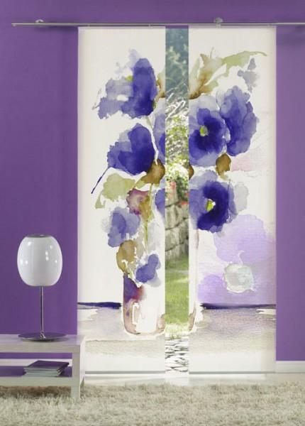 Aquarell Mohn Blau Flächenvorhänge 2-teiliges Set