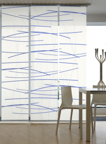Querstreifen Blau Flächenvorhänge 3-teiliges Set