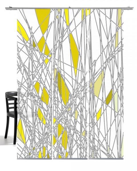 Labyrinth gelb Flächenvorhang 3-teiliges Set