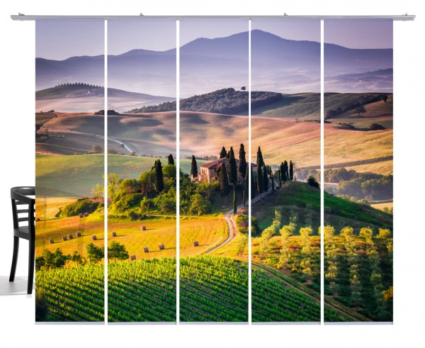 Fernwehkollektion Toskana bunt, mehrfarbig Flächenvorhang 5-teiliges Set