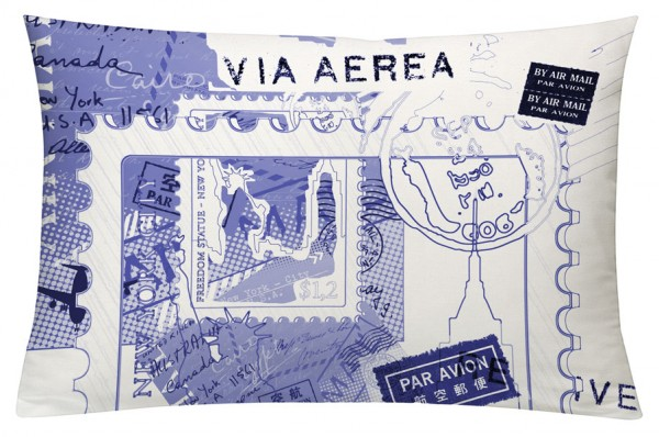 Postcard Blau - Kissenhülle 60 x 40 cm