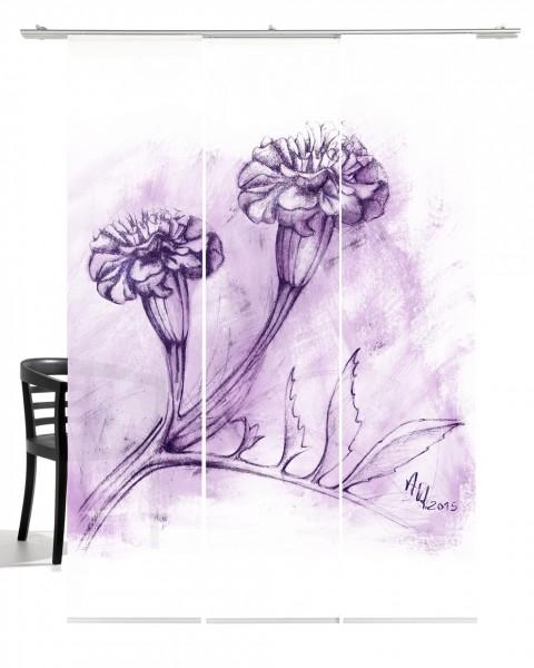 Nelke lila Flächenvorhang 3-teiliges Set