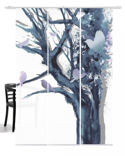Baum der Vögel taubenblau Flächenvorhang 3-teiliges Set