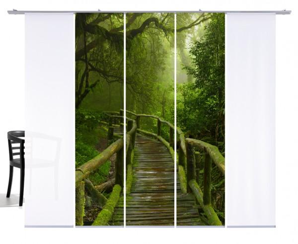 Fernwehkollektion Jungle Bridge grün Schiebegardine 5-teiliges Set 3x Motiv und 2x Weiß