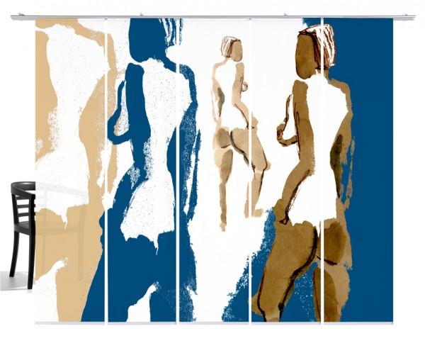 Silhouetten Akt blau-beige Flächenvorhang 5-teiliges Set