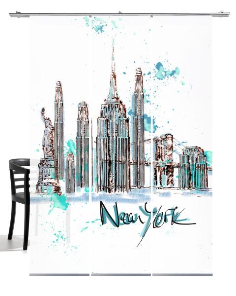 NY Skyline apua Flächengardine 3-teiliges Set