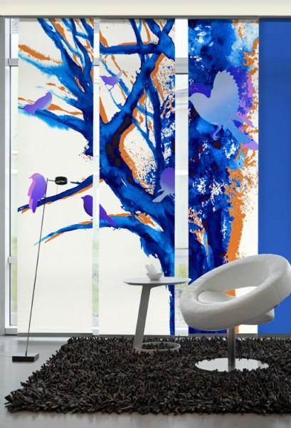 Baum der Vögel Blau Flächenvorhänge 3-teiliges Set