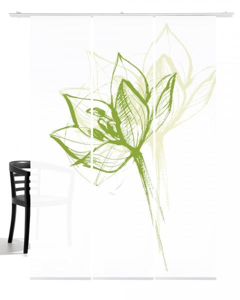 Blütenkopf maigrün Flächengardine 3-teiliges Set