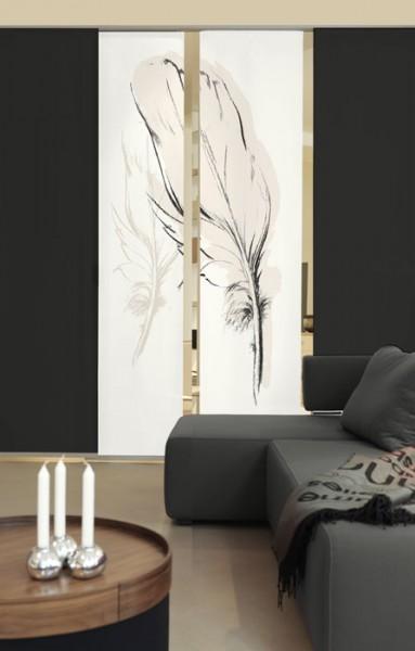 Konturfeder Sepia Schiebevorhänge 2-teiliges Set